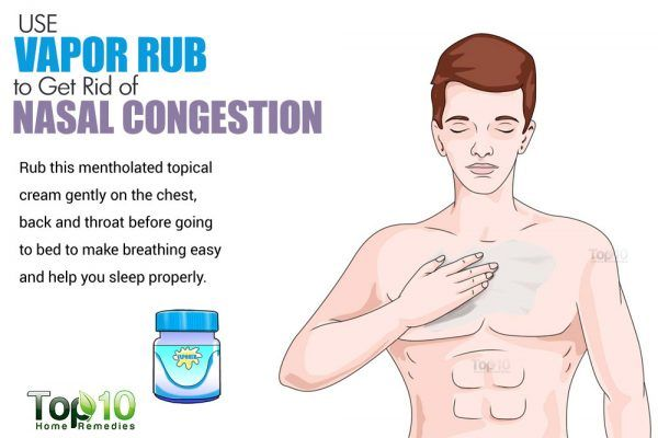 rub vicks on chest to get rid of nasal congestion