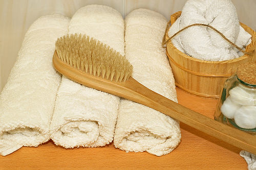 brush and towel