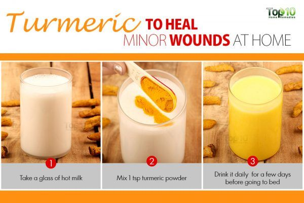 drink turmeric milk to help heal minor wounds