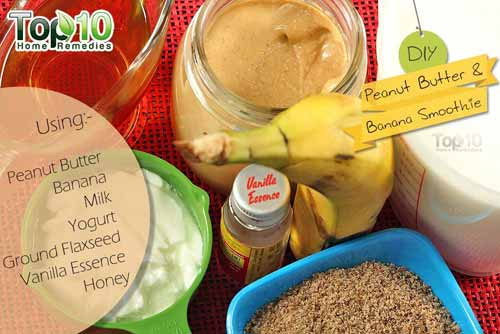 DIY peanut butter smoothie ingredients
