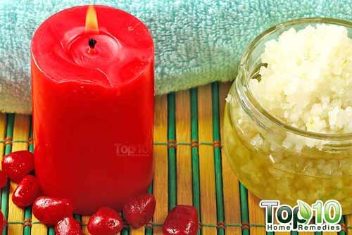 DIY sea salt citrus scrub done