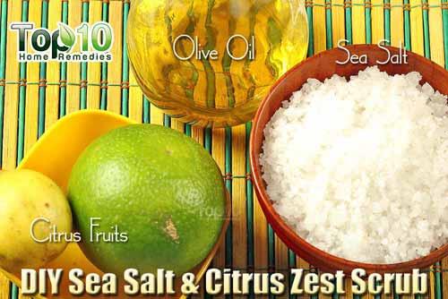 DIY sea salt citrus scrub ingredients