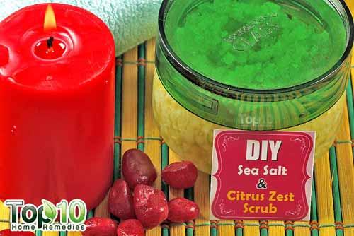DIY salt citrus scrub