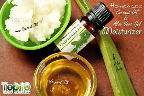 homemade coconut oil and aloe vera moisturizer