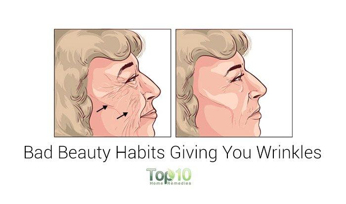 bad beauty habits causing wrinkles