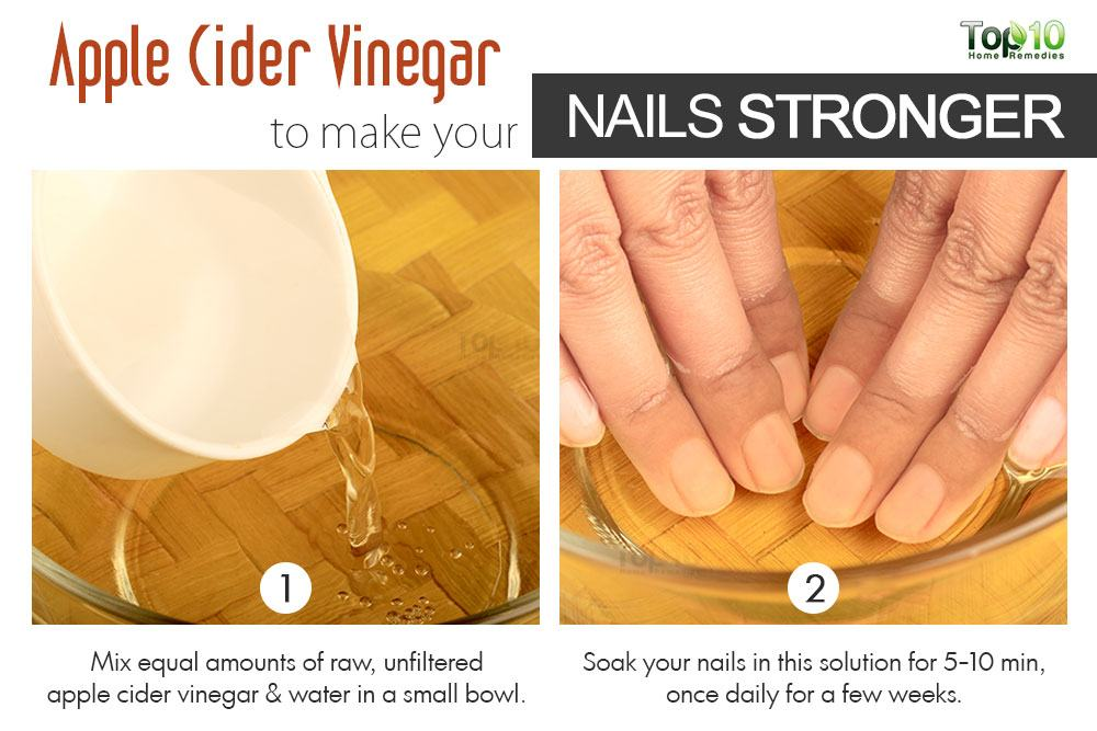 How to make your nails stronger top 10 home remedies apple cider vinegar has various nutrients such as magnesium potassium calcium and iron that promote nail health in addition its acidic nature can solutioingenieria Choice Image