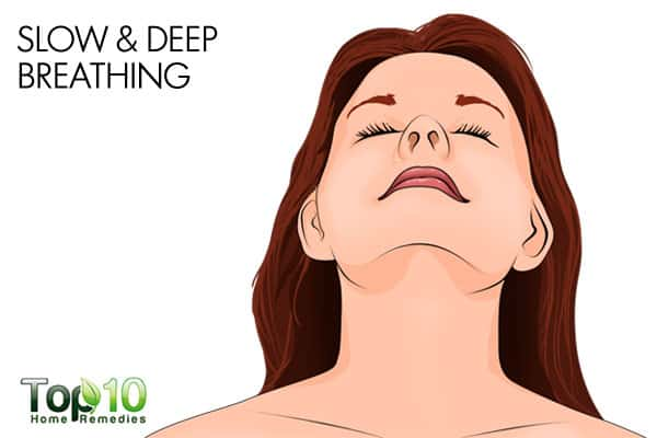 slow and deep breathing to reduce stress