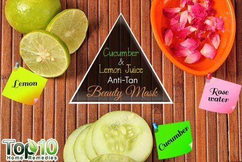 الخيار وعصير ليمون مكافحة تان الجمال قناع