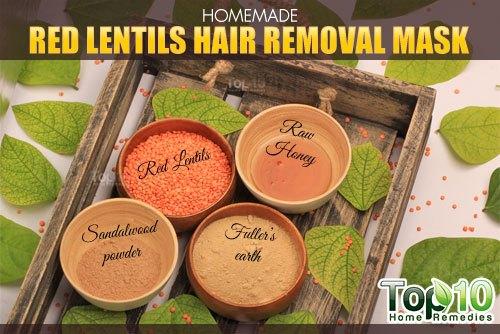 DIY red lentils hair removal mask ingredients