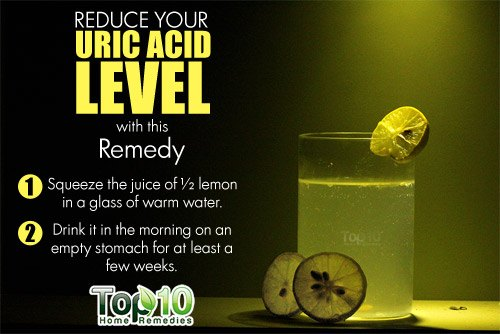 lemon water to reduce uric acid level