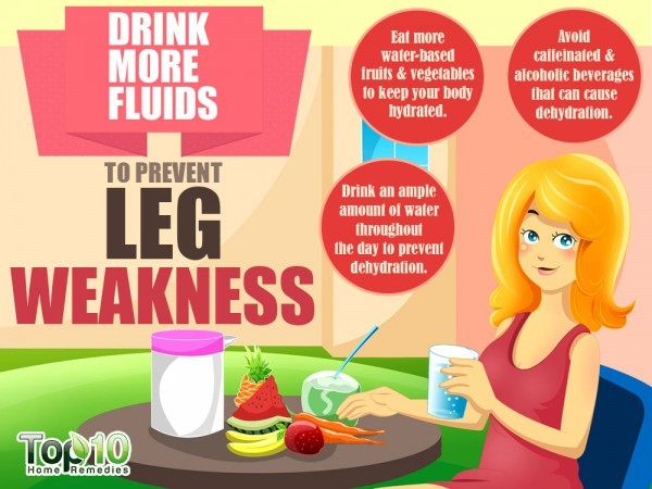 drink fluids to strengthen weak legs