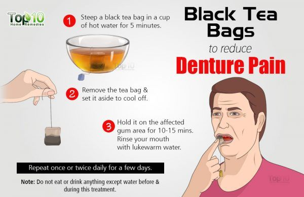 black teabag for denture pain