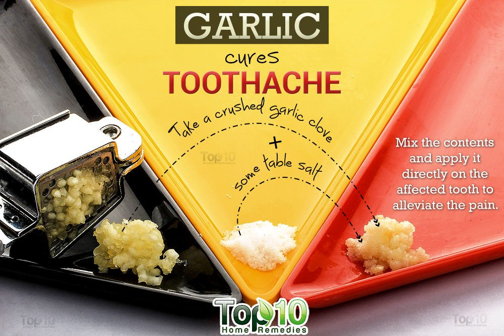 Mix a crushed garlic clove (or garlic powder) with some table salt or black salt and apply it directly on the affected tooth to alleviate the pain.