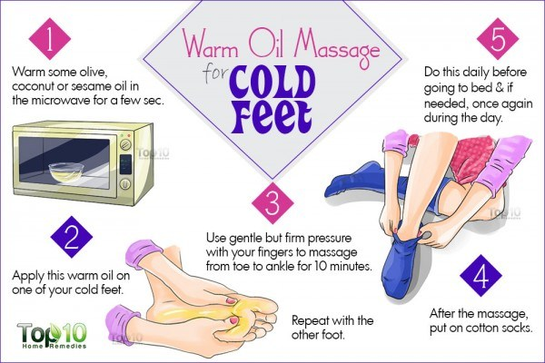 treat cold feet with warm oil massage