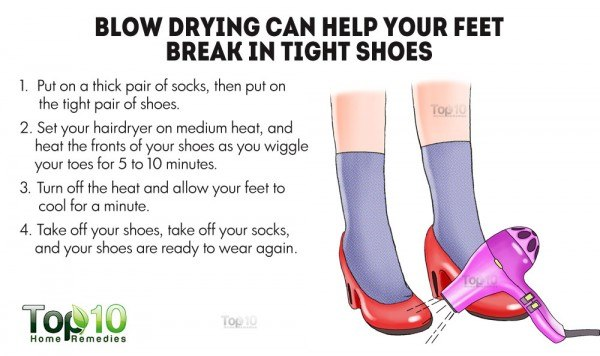 blow drying to break in tight shoes