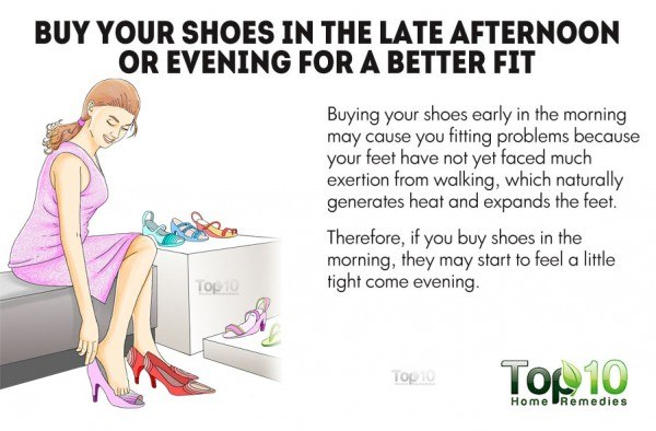 buy shoes in the late afternoon