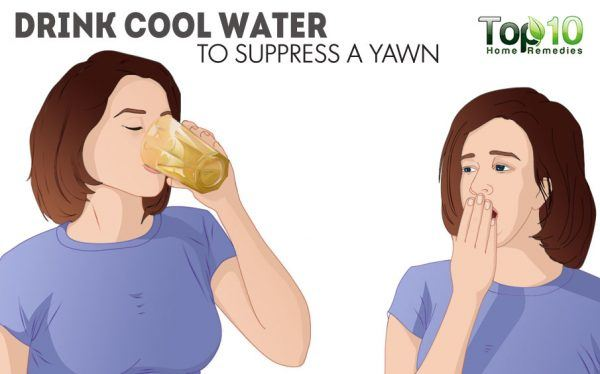 drink cool water to stop yawning
