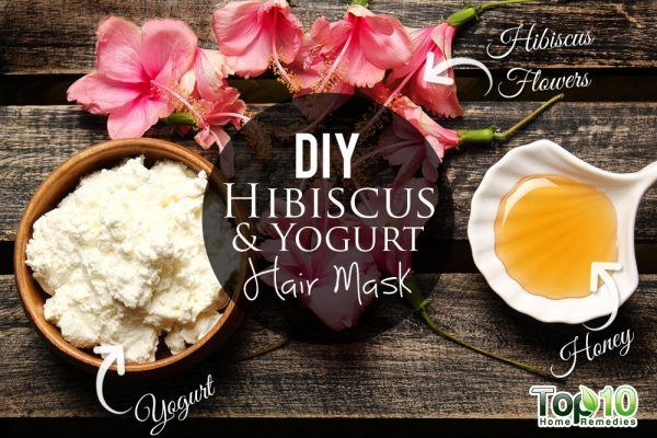 homemade hibiscus and yogurt hair mask