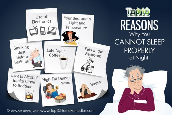 reasons you cant sleep properly at night
