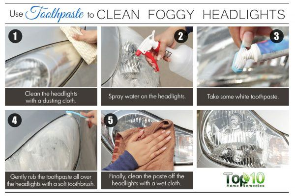toothpaste to clean foggy headlights