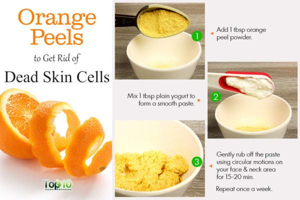 orange peel face mask to scrub away dead skin cells