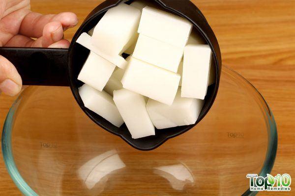 half cup soap base cut into cubes