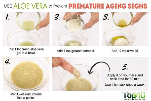 use aloe vera to delay aging signs on skin