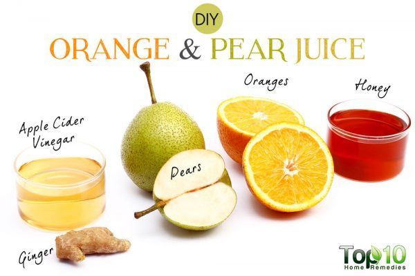 DIY orange and pear juice for cholesterol