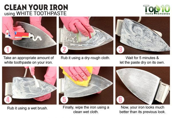 clean your iron with white toothpaste