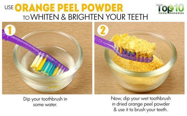 orange peel powder as a natural toothpaste