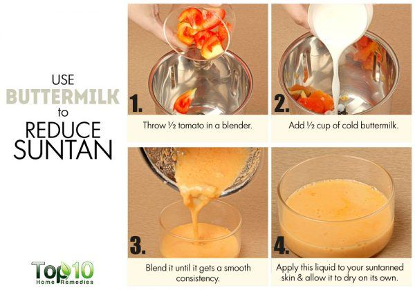 buttermilk to reduce suntan