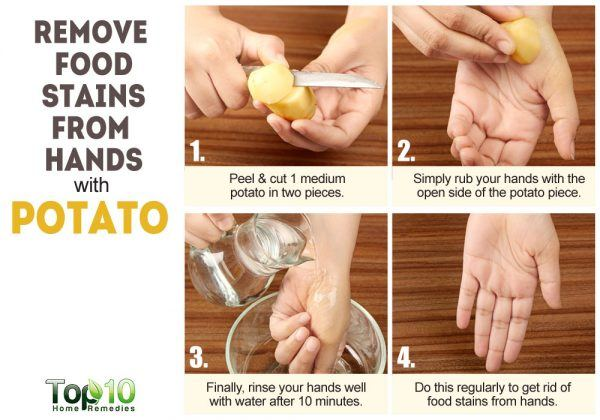 potatoes help reduce food stains from hands