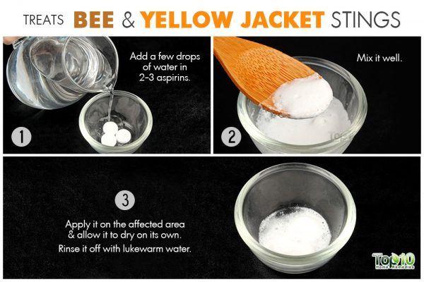 treats bee and yellow jacket stings