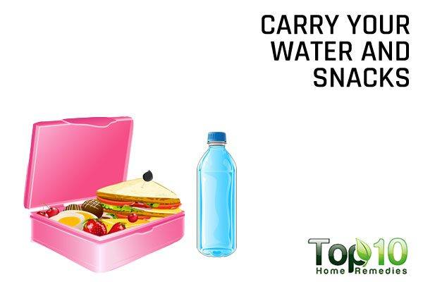 carry your water and snacks with you