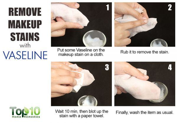 vaseline helps remove makeup stains