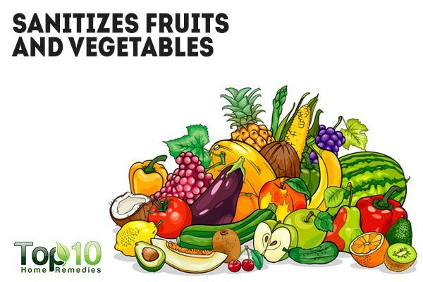 hydrogen peroxide sanitizes fruits and vegetables