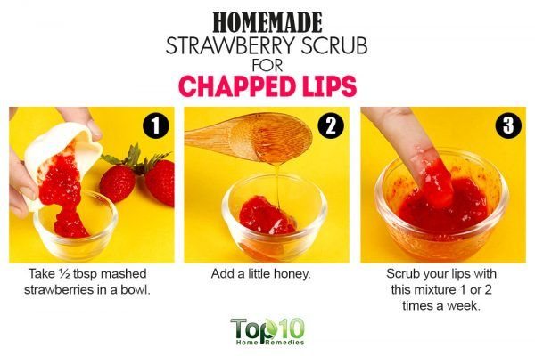 strawberry lip scrub for chapped lips