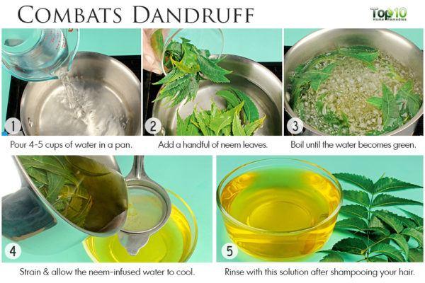neem hair rinse to treat dandruff