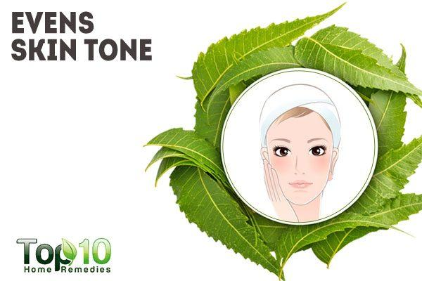neem helps even out skin tone