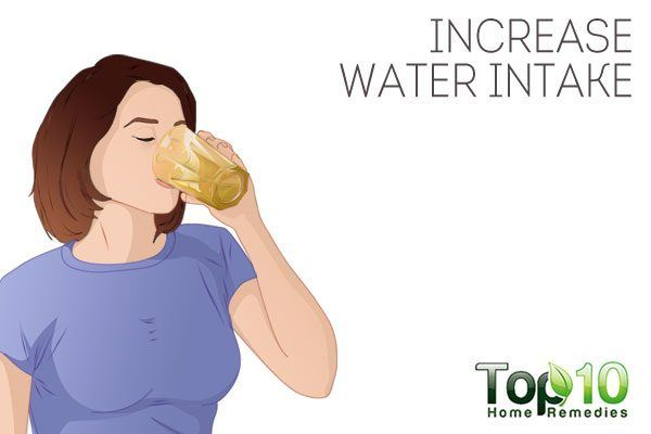 increase your water intake to prevent dry feet