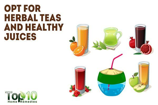 opt for herbal teas and juice to reduce coffeine addiction