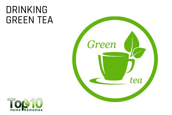 drinking green tea