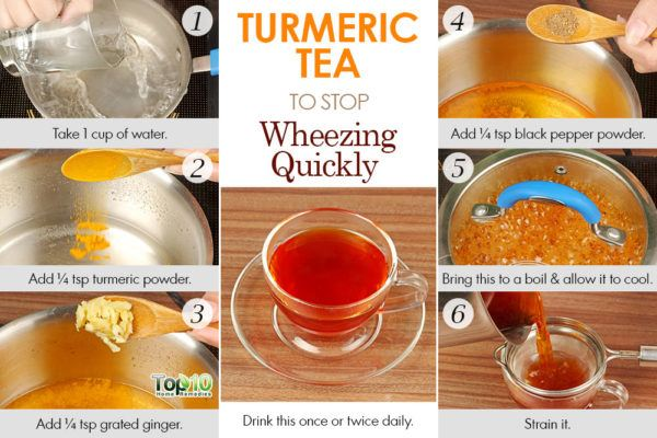 drink turmeric tea to stop wheezing