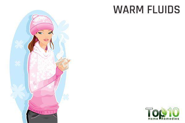 drink warm fluids to treat wheezing