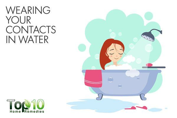 do not wear contact lenses in water