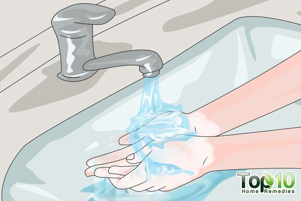 rinse your hands under running water