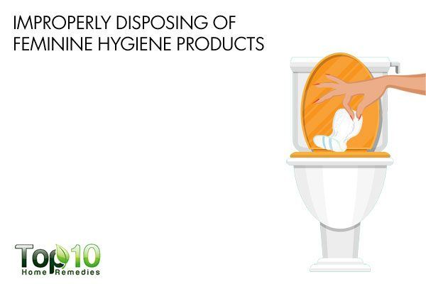 improperly disposing of feminie hygiene products