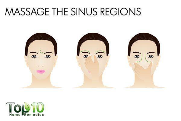 massage the sinus regions to treat sinus headache