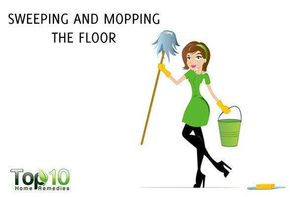 sweeping and mopping the floor to lose weight