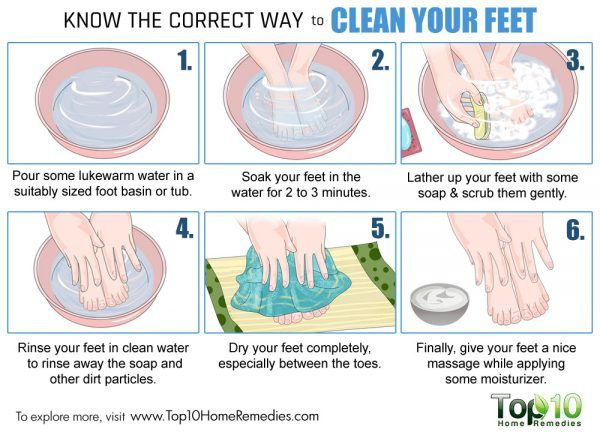 correct way to clean your feet